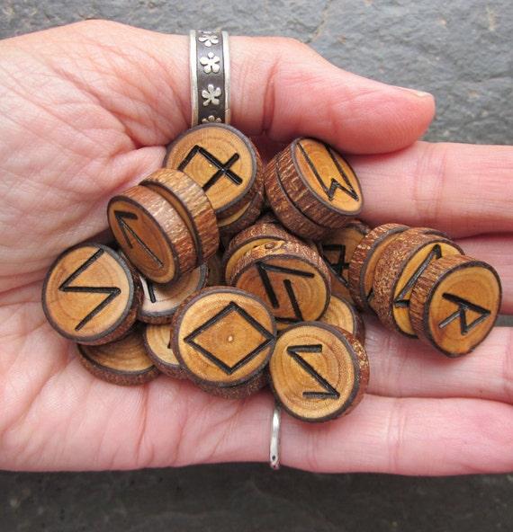 Natural Wood - Pocket Runes - in Elm Wood for Love Magic.