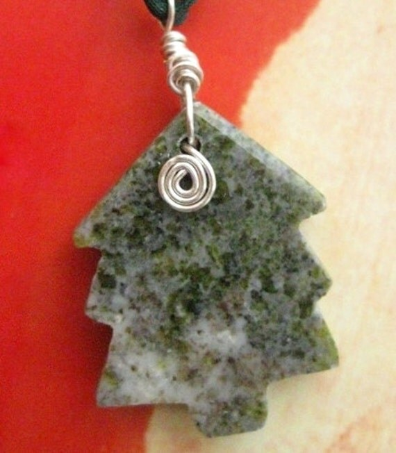 Christmas Tree Ornament from Ireland. Connemara Marble. Celtic Spiral Charm
