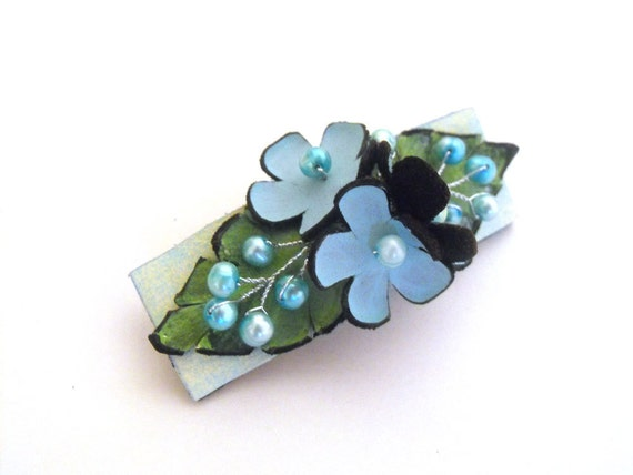 SALE Leather flower barrette with freshwater pearls Leather jewelry