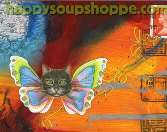 Cat Butterfly Hand Painted Rainbow Art or card postcard giclee print