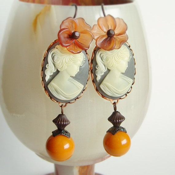 Floral Cameo Earrings Grey Mustard Large Victorian Lady Cameos Jewelry Gray Amber
