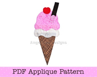 Ice Cream Template. Ice Cream Applique. Icecream Cone PDF Template. DIY. PDF Pattern by Angel Lea Designs
