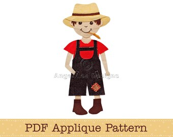 Farm Boy Applique Template. PDF Applique Pattern of Boy in Overalls Straw Hat and Wheat Stalk in Mouth