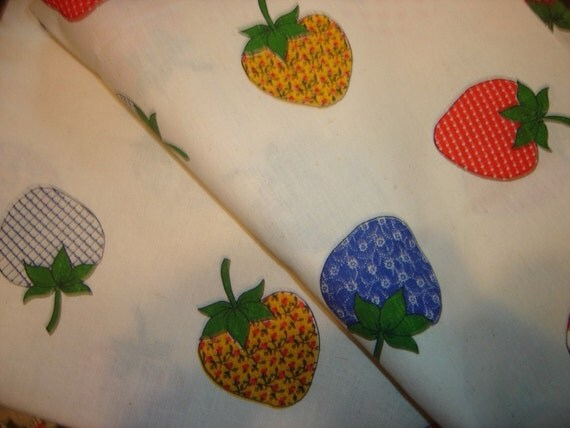 Over a Yard of Country Strawberry Patchwork Quilt Fabric