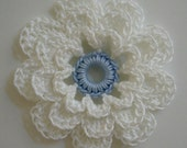 Crocheted Flower - White and Bridal Blue - Cotton Flower - Crocheted Applique - Crocheted Embellishment