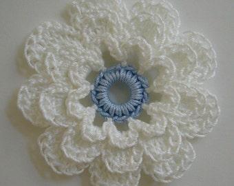 Crocheted Flower - White and Bridal Blue - Cotton Flower - Crocheted Flower Applique - Crocheted Flower Embellishment