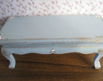 Coffee Table,  Duck egg blue , hand  painted with rose bouquets, twelfth scale miniature