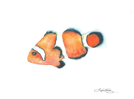 Clown Fish Watercolor Painting
