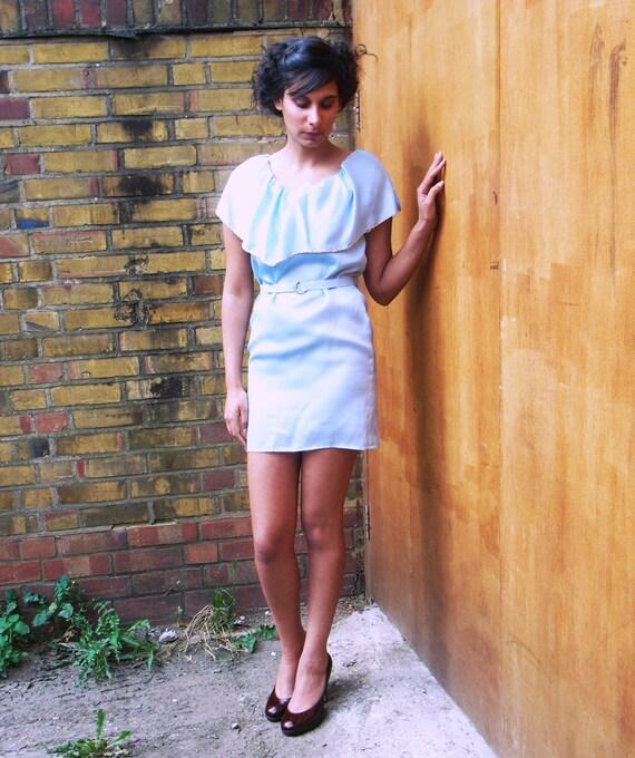 Sample Sale Sky Blue Silk Oversized Collar Dress