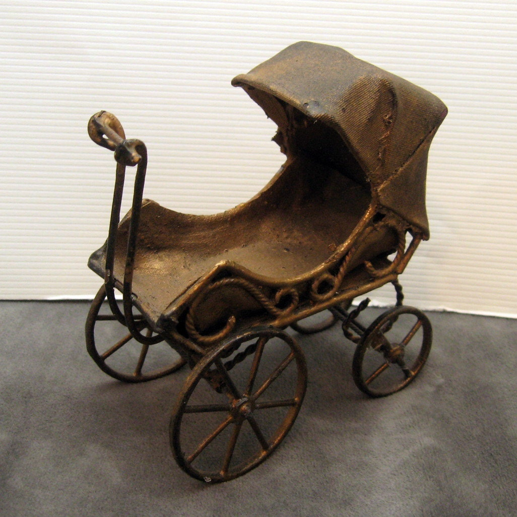 Antique Baby Carriage Stroller Toy Buggy By Vintagepotluck