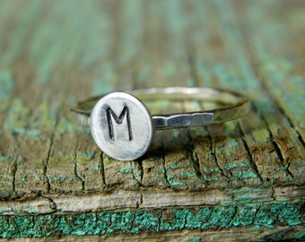 Sterling and Hammered Fine Silver Initial Keepsake Ring