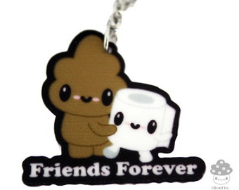 Friends Forever Stinky Poo & TP Necklace cute poop kawaii toilet paper bff best friends friendship necklace jewelry besties