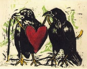 Crow art romantic crows Made to Order Raven Pair art print on paper reproduced from hand carved art