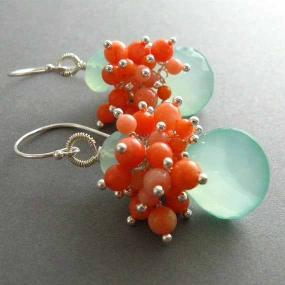 Aqua Chalcedony and Coral Cluster Sterling Earrings