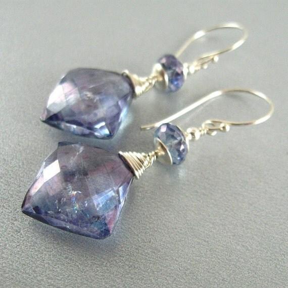 Blue Quartz Sterling Silver Wire Wrapped Earrings