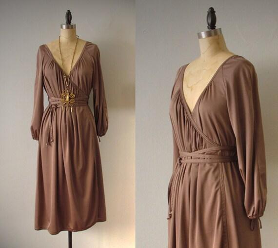 vintage 1970s wrap dress - aubergine sexy bohemian disco jersey wrap dress medium