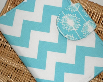 Samsung Galaxy Tab 4 Nook Cover, Kindle Paperwhite Cover, Nook Glow Case, all sizes Aqua Chevron Sunburst eReader Cover