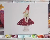 Wee Gnome Girl Upon Her 'Shroom - 5x7 Greeting Card