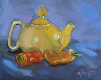 """Teapot Painting, Kitchen Art, 6x8"""" Original  Oil Painting, """"Yellow Teapot and Peppers"""""""
