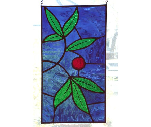 Botanical Stained Glass Panel - 6 x 11, garden, nature