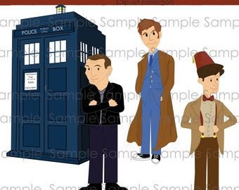 Clipart, Doctor Who, INSTANT DOWNLOAD,  Digital, clip art , digital, scrapbooking , 9th, 10th, 11th, Tardis
