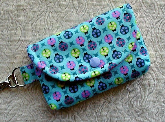 Small Snap Pouch w/ Key Clip ...Ladybugs in Sky