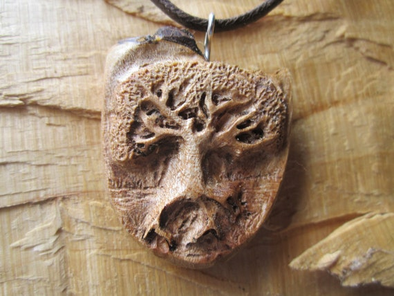 Tree Necklace- Tree of Life Necklace- Wooden Necklace Carved in Reclaimed spalted Maple Burl