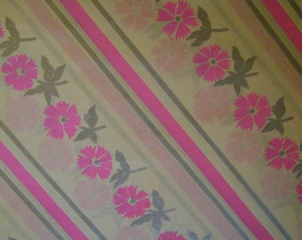 Vintage 1960s Gift Wrap All Occasion Wrapping Paper--KAYCREST 3 Sheets NIP--Pink Posies & Silver Stripe