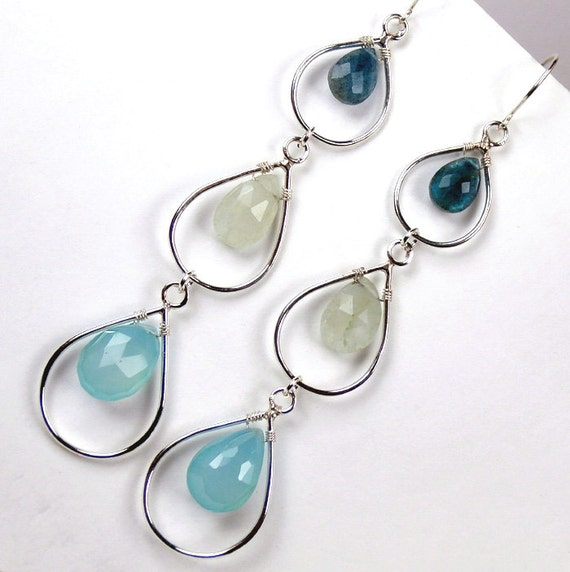 Aquamarine Earrings Silver Triple Hoop Wire Wrapped Long Dangle Earrings Luxury  Fashion Statement  March Birthstone - Helga