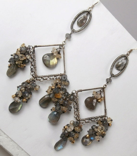 RESERVED for N - SALE 50% off -  Long Labradorite Chandelier Earrings Wire Wrapped Oxidized Sterling Silver Citrine Statement Earrings