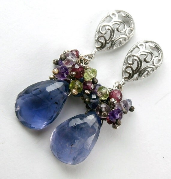 Blue Cluster Earrings Post Sterling Wire Wrapped Iolite Gemstone Cluster Post Earrings Fashion under 100
