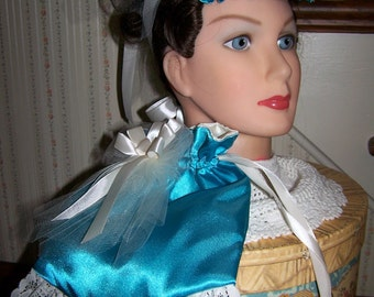 Ladies Civil War Hat Teal Satin with Ivory Braid and Satin Ribbons