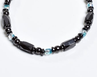 Aqua Blue and Magnetite Magnetic Therapy Necklace by Happy and Healthy