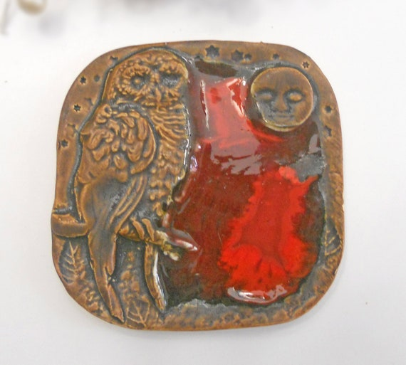 Ceramic Owl Plate with Red Glass Handmade Pottery
