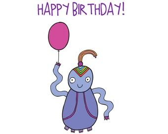Alien Birthday Card - Purple Alien