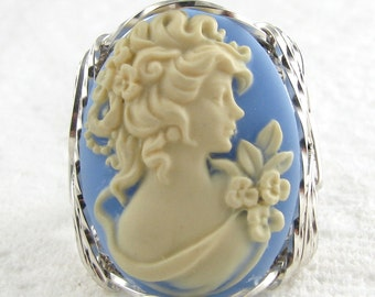 Edwardian Lady Era Blue Cameo Ring Sterling Silver Jewelry