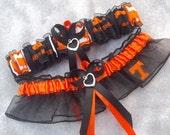 Handmade wedding garters keepsake and toss UNIVERSITY OF TENNESSEE wedding garter set