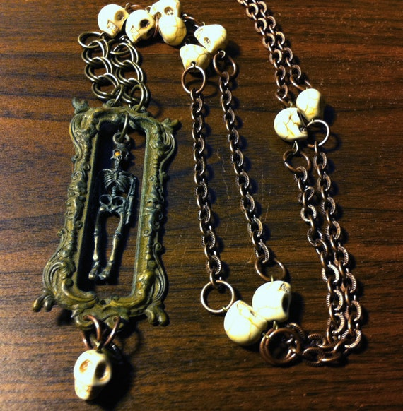 THE OBLONG BOX skeleton cemetery necklace