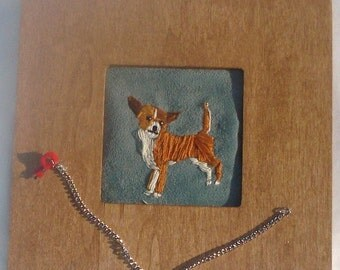 Chihuahua Dog Embroidered Portrait in Wood Frame