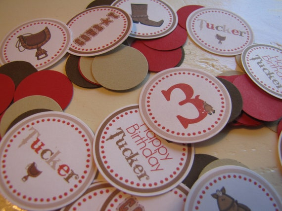 Boy Cowoby Birthday Table Confetti/Boy Cowboy Birthday Party/Table Decorations/1st Birthday/Western Birthday-You Choose the colors