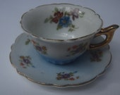 Miniature Tea Cup and Saucer occupied Japan Floral Gold
