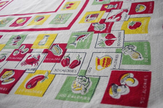 Fun & Unusual Design 1950's Calories Tablecloth