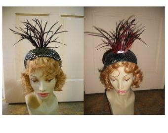 Vintage sequin cap 50's hat  show girl feathers jewels black couture femme fatale
