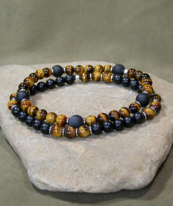 mens bracelet, bracelet for men,  mens beaded bracelet, Tiger Eye Bracelet, stretch bracelet, mens jewelry, Matte Black, stack bracelet set
