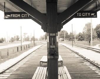 Chicago photography, Vintage CTA Chicago train stop, Photograph - etsy wall art - chicago art - train art - boys room decor