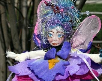 Flower Fairy Art Doll, Woodland Fairy Gift, Flower Fairy Bridal Shower Favor