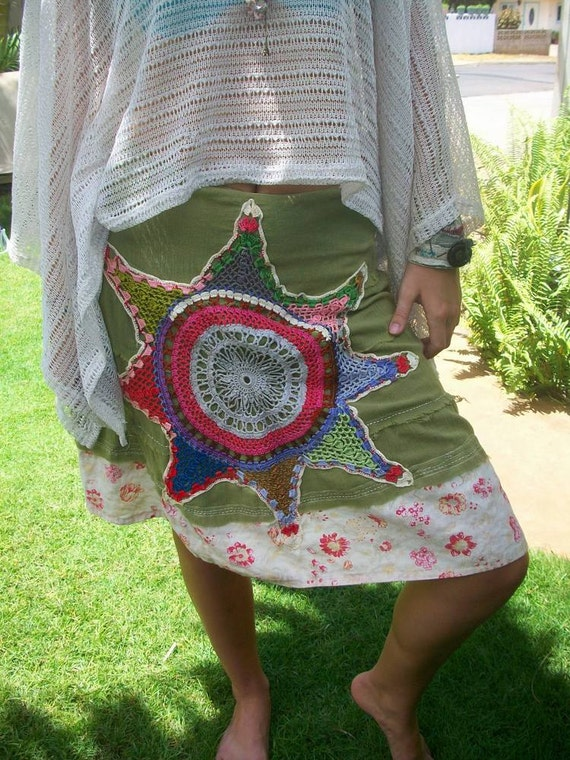 Reserved for Christine... green hippie free-spirit festival prairie country skirt by simplyworn