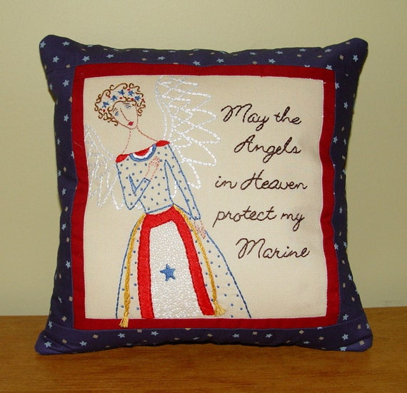 Military Patriotic Pillow - hand embroidered