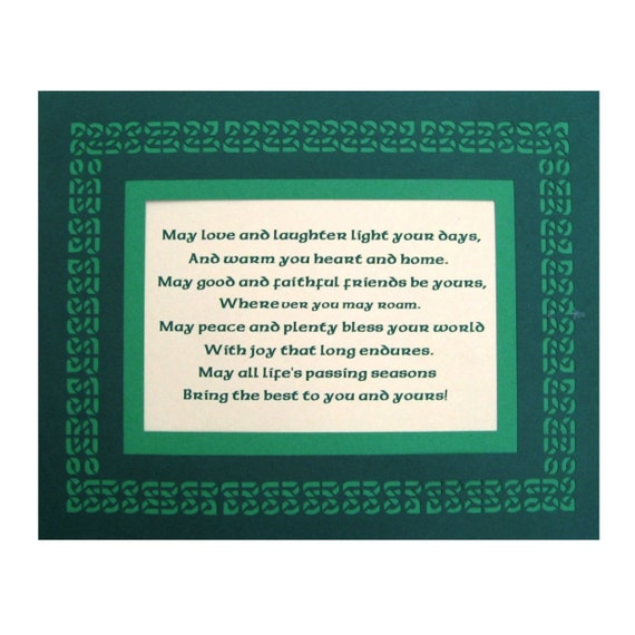Irish Blessing May Love and Laughter Light Days Paper Cut Celtic Knot Border Wall Art Wall Decor 8X10 Unframed