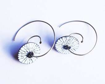 White and Black Enamel Copper and Silver Earrings